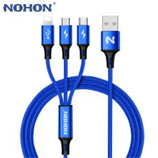 NOHON 3 IN 1 Type C 8Pin Micro USB Cable For iPhone 8 X 7 6 6S Plus iOS 10 9 8 Samsung Nokia USB Fast Charging Cables Cord