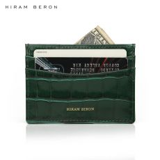 Hiram Beron Genuine Leather Card Holder Men Cow Leather With Crocodile Pattern Wallet Free Custom Name ID Credit Card Wallet