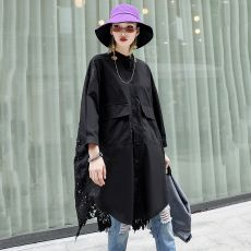 [EAM]2020 New Spring Autumn Stand Collar Long Sleeve Back Lace Hollow Out Spliced Big Size Shirt Women Blouse Fashion Tide JR835