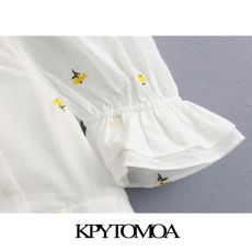 KPYTOMOA Women 2020 Sweet Fashion Floral Embroidery Cropped Blouses Vintage Pull Sleeve Back Bow Tie Female Shirts Chic Tops