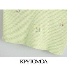 KPYTOMOA Women 2020 Sweet Fashion Floral Embroidery Cropped Knitted Blouses Vintage Backless Thin Straps Female Shirts Chic Tops
