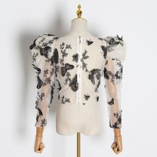 TWOTWINSTYLE Embroidery Butterfly Mesh Shirt Women O Neck Puff Sleeve Top Perspective Blouse Female Fashion 2020 Tide