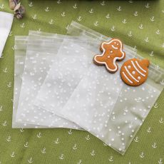 100pcs Plastic Transparent Cellophane Polka Dot Candy Cookie Gift Bag with DIY Self Adhesive Pouch Wedding Birthday Party