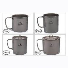 Widesea Camping Mug Titanium Cup Tourist Tableware Picnic Utensils Outdoor Kitchen Equipment Travel Cooking set Cookware Hiking