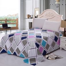 1 Piece 100% Cotton Flat Sheet For Children Adults Single Double Colorful Striped Bed Flat Bedsheets XF631-26