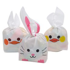 25Pcs/lot Cartoon Cute Rabbit Long Ear Wedding Birthday Favor Candy Gift Bags Bunny Cookie Snack Biscuit Packaging Bag Supplies