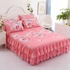 3pcs set Bedding Bed Skirt +2pc Free Pillowcases Wedding Bedspread Bed Sheet Mattress Cover Full Twin Queen King Size Bedsheets