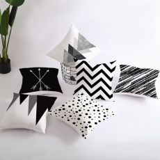 Geometric Cushion Cover Black and White Polyester Throw Pillow Case Striped Dotted Grid Triangular Geometric Art Cushion Cover