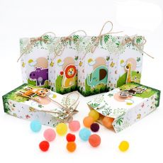 OurWarm 12Pcs Safari Animals Paper Candy Gifts Bags Jungle Party Decorations Sweet Gifts Box Woodland Birthday Party Supplies