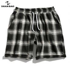Elastic waist tie men's fashion plaid casual shorts summer hip-hop high street trend large size loose shorts white red green