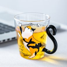250ML Cute Cat Glass Juice Coffee Cup Milk Tea Coffee Glass Mug Cat Tail Handle Cat  Valentine's Day Lover Gifts Stainless Spoon