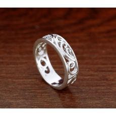Ethnic style 925 sterling silver ring Carved decorative pattern design girl Solid silver rings popular jewelry birthday present