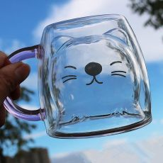 Glass Mugs Double Wall Glass mug, Bear cat dog animal Double-layer glass mug Coffee Cup, Christmas mug gift ,cute Tea Milk Cup