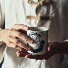 RUX WORKSHOP Japanese Style Teacup Water Cup Stoneware Ceramic Hand-painted Kungfu Teacup Cuisine Drinkware