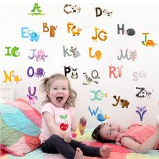 26 letters A-Z Alphabet&Animals Wall Sticke home decoration English Vinyl Mural Stickers Decals Nursery for Kids Room Decor