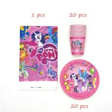 61pcs/Lot My Little Pony Theme Disposable Tableware Cup Plate Napkin Kids Birthday Party Decoration Tablecloth Supplies Sets