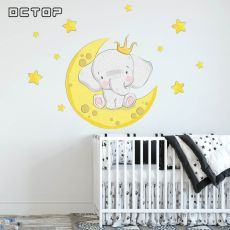 Baby Elephant  Stars Moon Wall Sticker Decals Room Window Nursery Decor Home Decoration Vinyl Cartoon Pattern Boys Girls Gift