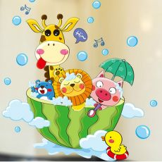 Cartoon Animals in the bath Wall Sticker for kids baby rooms bathroom Home decoration Decals wallpaper shower wall stickers