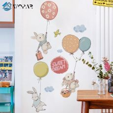Flying Rabbit Cartoon Wall Stickers for Baby Rooms Door Decoration Stickers Child Room Decor Waterproof Vinyl Wall Decal Kawaii