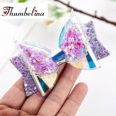 Thumbelina Transparent Wings Princess Hairgrips Glitter Hair Bows with Clip Dance Party Bow Hair Clip Girls Hair Accessories