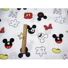 half meter 100% cotton cartoon mickey letters print fabric baby's bed sack handmade garment skirt pure cotton cloth B563