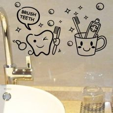 modern lovely cost price Brush Teeth cute home decor Wall Stickers kids bathroom washroom laundry room waterproof mural art
