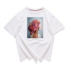 95% Cotton Bloom Flower Feather Women T -shirt Summer Short Sleeve Round Neck Harajuku Printing Tee Casual Fashion Female Tops