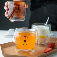 New Glass Mugs Double Wall Glass Mug Bear Cat Dog Animal Double-layer Glass Mug