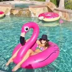 Rooxin 120cm Flamingo Inflatable Swimming Ring for Pool Adult Baby Swimming Ring Float Swim Circle Pool Toys Beach Party Supply
