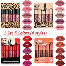5 Pieces Matte Lipstick Set Lip Glaze Lip Gloss Liquid Lipstick Non-stick Cup Nude Gift