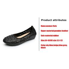 DONGNANFENG Mother Women Shoes Sandals Flats Hollow Out Genuine Leather Slip On Loafers Casual Vintage Plus Size 42 43 HN-1627