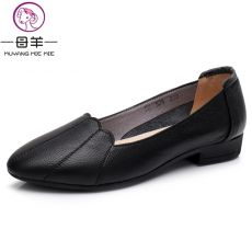 MUYANG MIE MIE Women Shoes Woman Genuine Leather Flat Shoes Female Casual Work Ballet Flats Women Flats Larger size ladies shoes