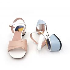 VAIR MUDO New Brand Women Sandals Shoes Ladies Thick Heel Genuine Leather Ankle-Wrap Square heel Shoes Women Fashion Blue  LX11
