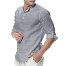 2020 Newest Men's Long Sleeve Shirts Cotton Linen Casual Breathable Comfortable Shirt Fashion Style Solid Male Loose Shirts