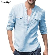 MarKyi fashion linen dress shirts for men v-neck long sleeve military style casual mens shirts double pocket shirt