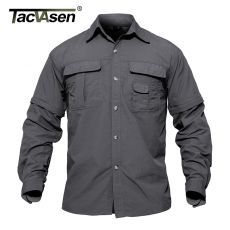 TACVASEN Men's Military Clothing Lightweight Army Shirt Quick Dry Tactical Shirt Summer Removable Long Sleeve Work Hunt Shirts