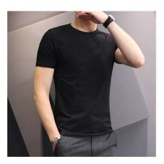 Street Vendor Summer White T-shirt Men's Short Sleeve Solid Crew Neck T-shirt Men Slim Fit Trend Top Black and White Tee