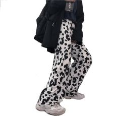 HOUZHOU Cow Print Pants Women Korean Style Cow Print Wide Leg Pants Harajuku Trousers Summer Korean Clothes Streetwear Women