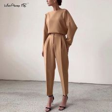 Mnealways18 Vintage Zipper Khaki Trousers Women High Waist Office Pants Ladies Brown Trousers Work Wear Summer Long Pants 2020