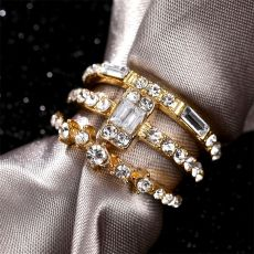 2020 New Fashion Twist Crystal Rings Set For Women Girls Gold Ring Geometry Couple Rings Female Engagement Wedding Jewelry Gift