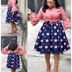 HGTE  new summer elegent fashion style african women printing plus size polyester dress L-3XL