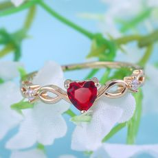 Huitan Simple Heart Ring For Women Female Cute Finger Rings Romantic Birthday Gift For Girlfriend Fashion Zircon Stone Jewelry