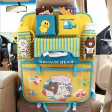 Cute Cartoon Car Seat Back Organizer Milk Bottle Snack Storage Bag iPad Tablet Holder For Kids Seat Back Kick Protector Cover