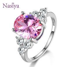 Women's Jewelry 925 Sterling Silver Rings White Pink Light Blue Champagne Zircon
