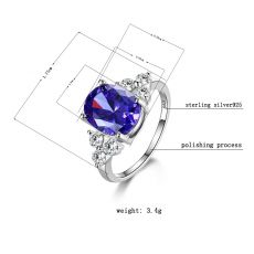 Women's Jewelry 925 Sterling Silver Rings White Pink Light Blue Champagne Zircon Oval Wedding Ring