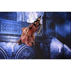 Hanging Witch Pendant Voice Control Horror Haunted Props Sorceress Ride a Broom Halloween Decorations