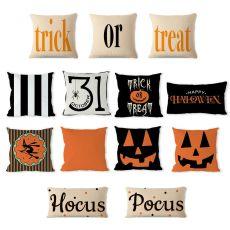 Pumpkin Witch Trick or Treat Pillowcase Decoration Linen Pillow Hug Pillowcase Halloween Home Decoration