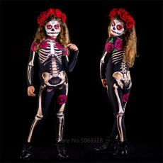 Skeleton Rose Sexy Women Halloween Devil Ghost Jumpsuit Party Carnival Performance Scary Costume