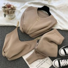 2020 autumn Knitted sweater suit casual new product temperament chain vest knitted jacket + elastic pants three-piece sets TZ423