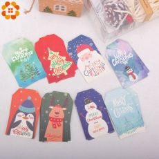 50PCS Merry Christmas Paper Hang Tags With Rope Multi Types DIY Crafts Paper Cards Christmas Party Labels Gift Wrapping Supplies